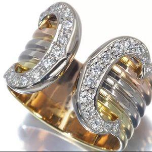 Cartier Diamond 2C Wide 18KT Trinity Tri-Gold Ring